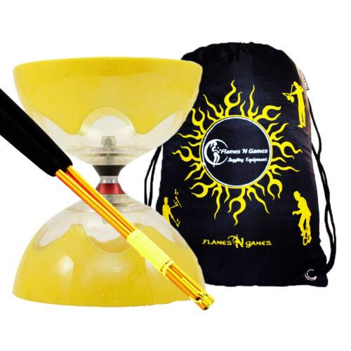 Coloured ALUMINIUM Handsticks Bag T Triple Bearing Diabolo Set HYPERSPIN