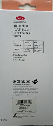 Silky Medium Size Ultra Sheer 10 Denier Tights with Spandex in 4 shades