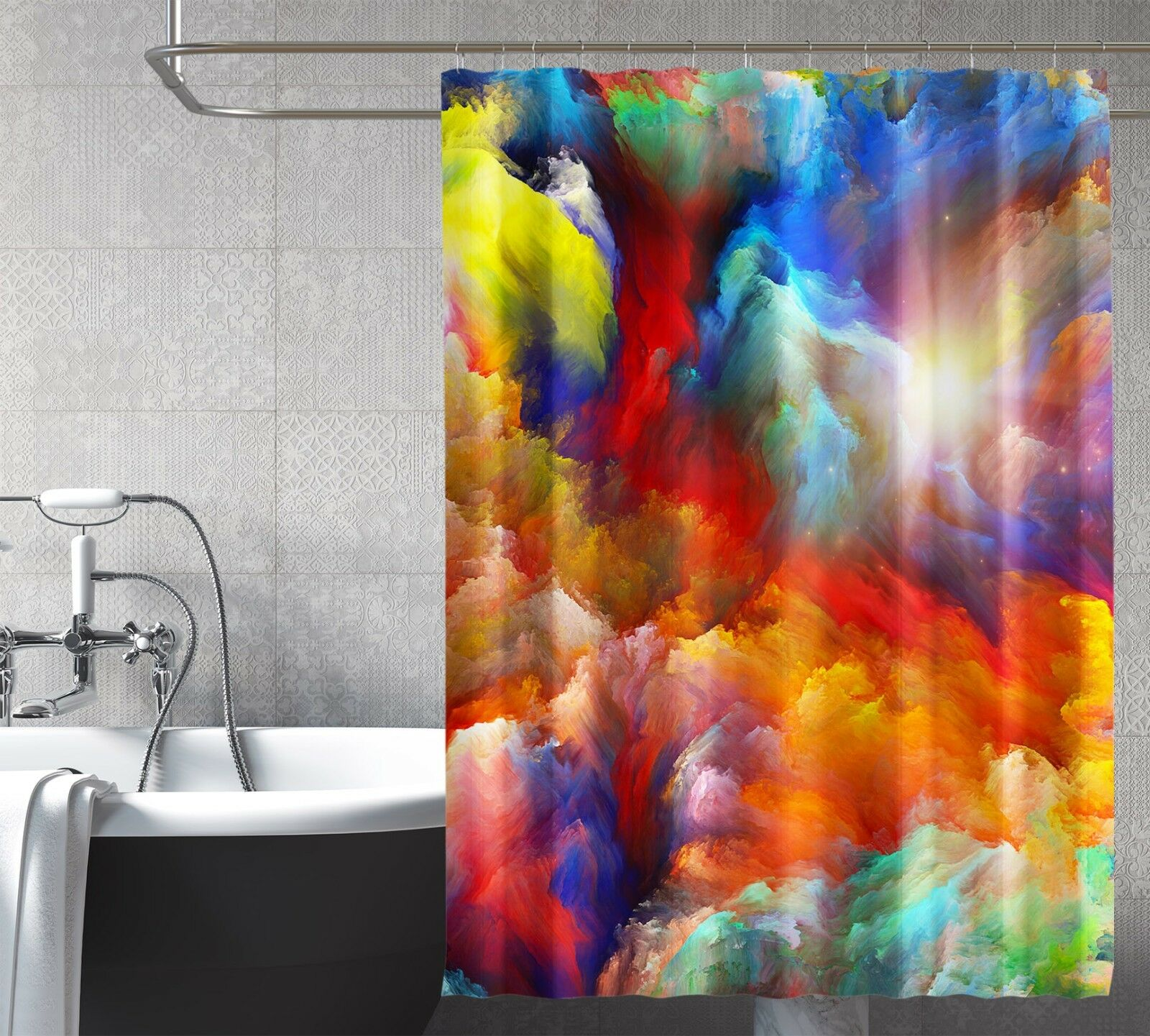 3D Pretty Nebula 27 Rideau de Douche Imperméable Fibre Salle de Bain Home Windows Toilette