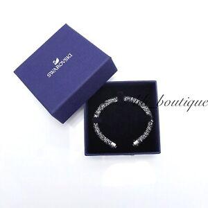 NIB-Swarovski-5250071-Crystaldust-Bangle-Cuff-Bracelet-Gray-Size-M-5-8-1-5cm-69