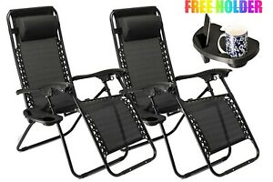 2xFOLDING-ZERO-GRAVITY-GARDEN-RECLINING-SUN-DECK-BED-CHAIR-WITH-CUP-HOLDER-BLACK