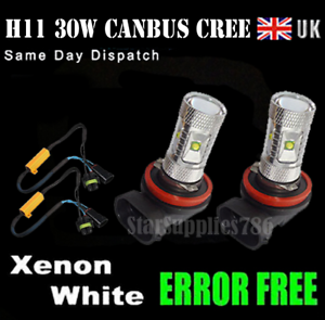 2x H11 CANBUS CREE FOG LIGHT H8 BULBS 30W WHITE ERROR FREE AUDI VW BMW MERCEDES