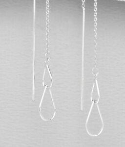 Image Is Loading Genuine 925 Sterling Silver Thread 2 Tear Drop