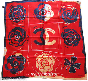 AUTHENTIC-CHANEL-CC-SCARF-Camellia-Lucky-4-Leaf-Clover-Pop-Art-from-Florence-New