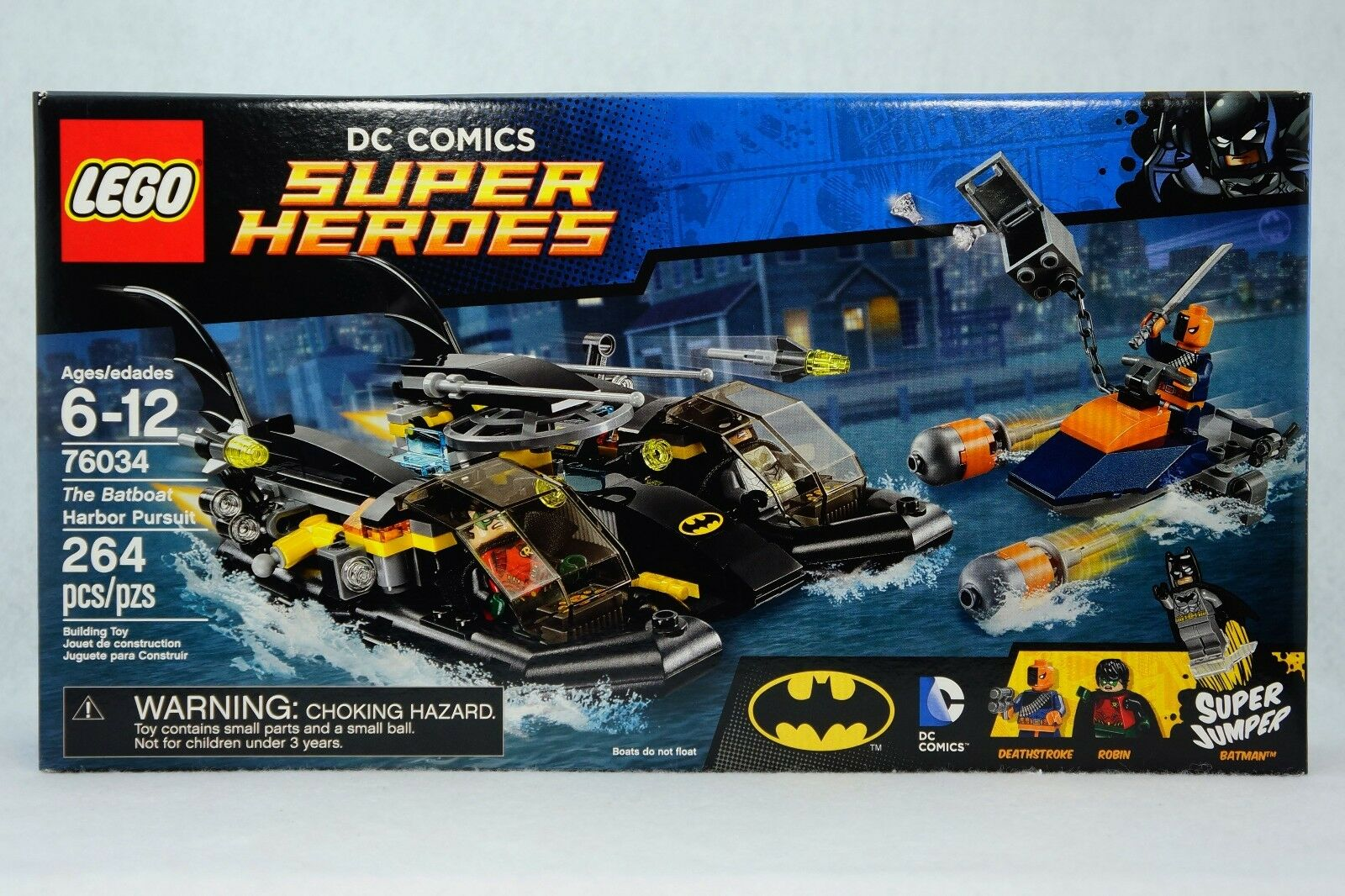 LEGO 76034 Batboat Harbor Pursuit. DC Comic Super Heroes. 264 pcs. NEW SEALED