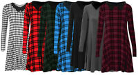 Womens Green Red Tartan Dog Tooth Long Sleeve Swing Skater Dress Plus Size 8-26