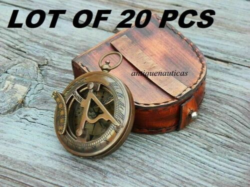 MARITIME VINTAGE BRASS SUNDIAL COMPASS LOT OF 20 PCS WITH LEATHER BOX HANDMADE