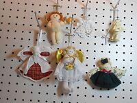 Cherub & Angel Ornaments - Red Plaid, Green Dress, Crochet Pin - Set Of 6