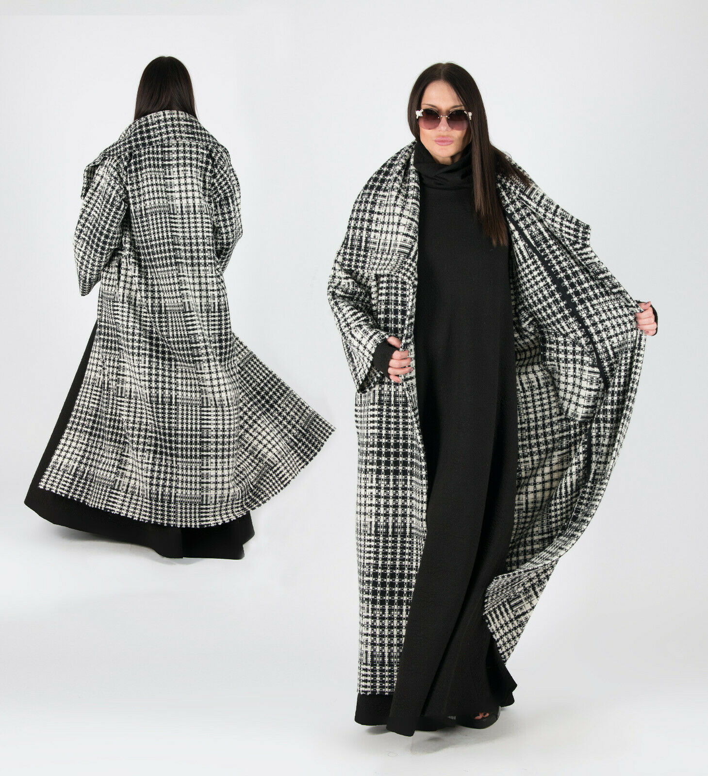 Winter Coat, Wool Coat, Plus Size Clothing, Long Coat, Loose Knit Coat, Warm...
