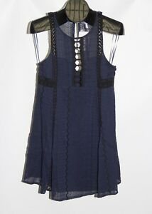 3bdbb365bd40 New Free People Navy Women s Size 2 Wherever You Go Crocheted Mini ...