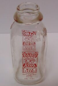 Vtg-1950s-DAIRY-KING-PINT-MILK-BOTTLE-PYROGLAZE-LOS-ANGELES-CALIFORNIA-GRAPHIC