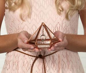 Copper Prism Wedding Ring Holder Box Glass Bearer Commitment