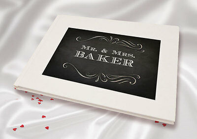 Personalised A5 White Linen Finish Wedding Guest Book Peach Snowdrop