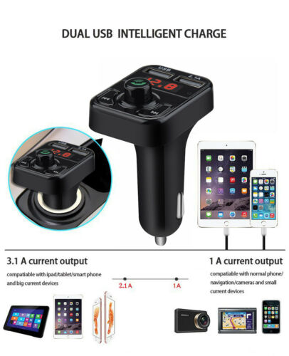 Wireless Bluetooth Mp3 Player Car FM Transmitter Radio Adapter USB Charger LED