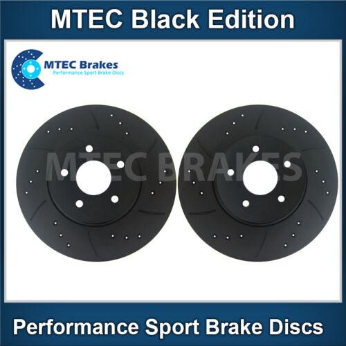 Front Brake Discs Drilled Grooved Mtec Black Edition Honda Jazz 1.2i-VTEC 10//08