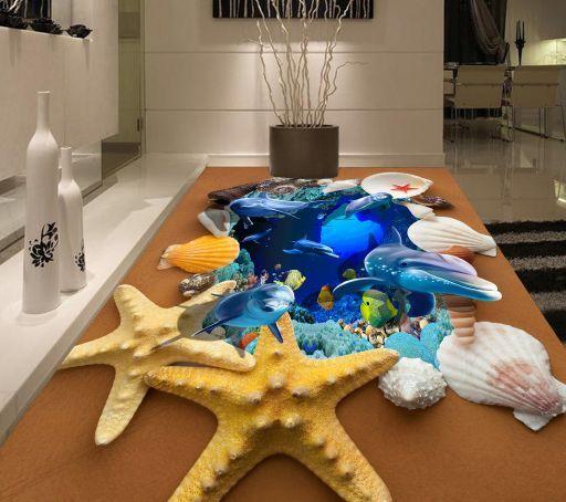 3D Ocean Shell Piso impresión de parojo de papel pintado mural estrellas de mar Calcomanía 5D AJ Wallpaper