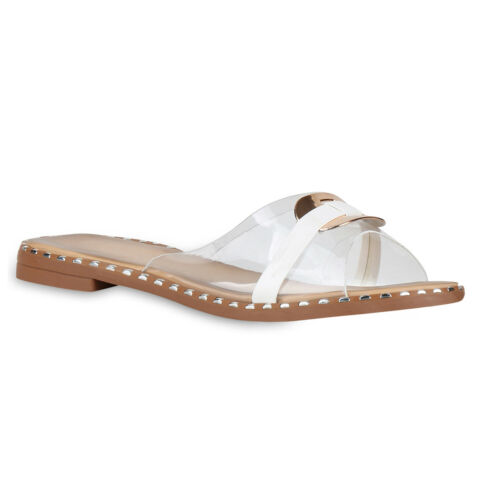 Damen Sandalen Pantoletten Nieten Transparent Metallic Schuhe 826356 Trendy