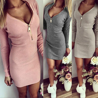 Sexy Women Girl Long Sleeve Slim Bodycon Party Cocktail Evening Short Mini Dress