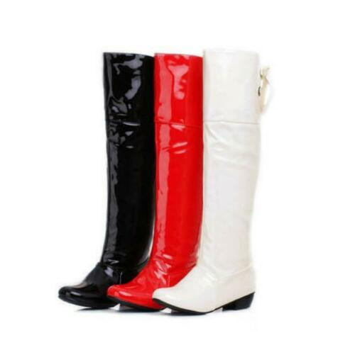 New Women/'s  Shoes patent Leather Winter Flat Heel Lace Up Over the Knee Boots D
