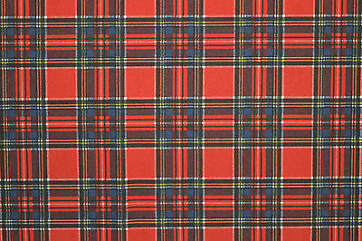 "RED TARTAN PRINTED STRETCH JERSEY PONTE ROMA FABRIC 58"" WIDTH BY THE METRE"