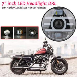 7-034-Zoll-Haupt-LED-Scheinwerfer-Hi-lo-Beam-DRL-Fuer-Harley-Honda-Jeep-Yamaha