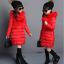 Kids Girls Fur Hooded Cotton Padded Coat Kids Long Jacket Parka Overcoat Thick