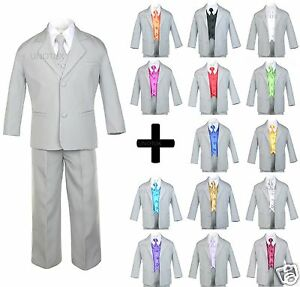 7 PC Vest Tie + Baby Toddler Teen Formal Wedding Party Tuxedo Gray Boy Suit S-20