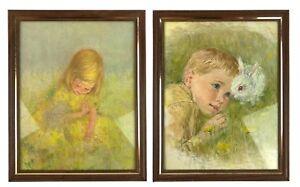 Pair-2-Frances-Hook-Framed-Prints-Boy-w-Rabbit-Girl-Field-Yellow-Flowers-8x10-034