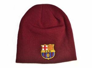 Oficial-FC-Barcelona-Tejido-Gorro-Beanie-Gorro-Invierno-Del-Club-Crest-Borgona