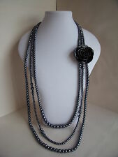 New 1920's Style Long Necklace of Dark Grey Gun Metal Faux Pearls & Black Rose