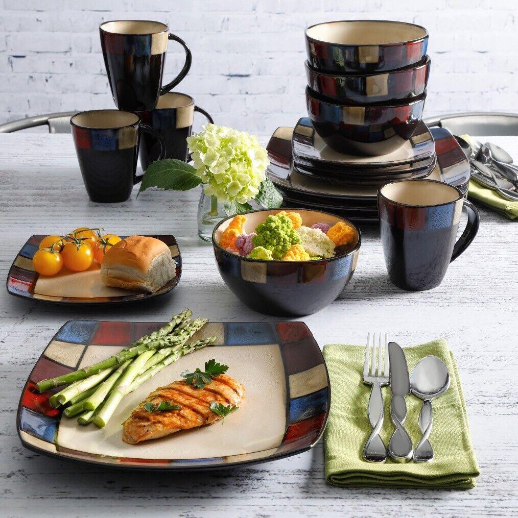 Beige Carré 32 pièces Dinnerware Set dessert 8 lieu réglage Plat Bol Assiette Tasse