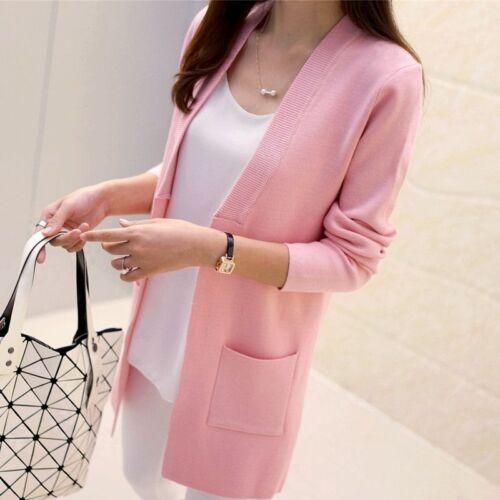 Sweater Women Spring Autumn Long Cardigan Korean Slim Pocket Loose Knit Sweater