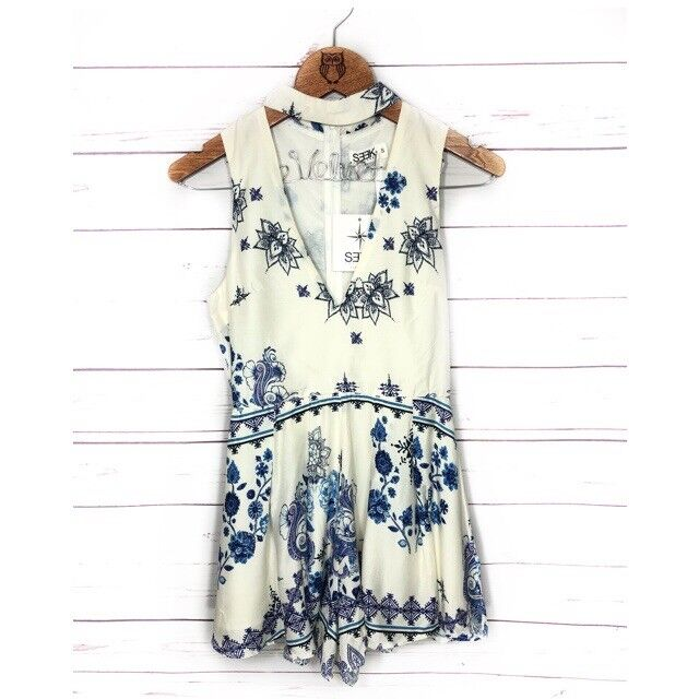 LF Seek The Label Women's White and bluee Floral Romper Size Small