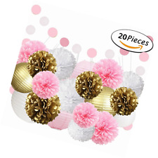 Fonder mols crepe paper 20 white pink gold tissue pom poms flowers 20 white pink gold tissue paper pom poms flowers paper lanterns and polka dot mightylinksfo