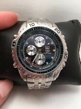 Elgin Watch Mens Black Steel PQS Solar Chronograph Stainless Silver 50m -H24