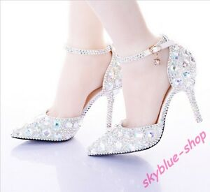 Brilliant Pearl Wedding Shoes Pointed Toe Ankle Strap Bridal Dresses Shoes Women