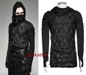 New-Punk-rave-Rock-Fashion-Casual-Black-Gothic-Long-Sleeve-MEN-t-shirt-Top-M-XXL