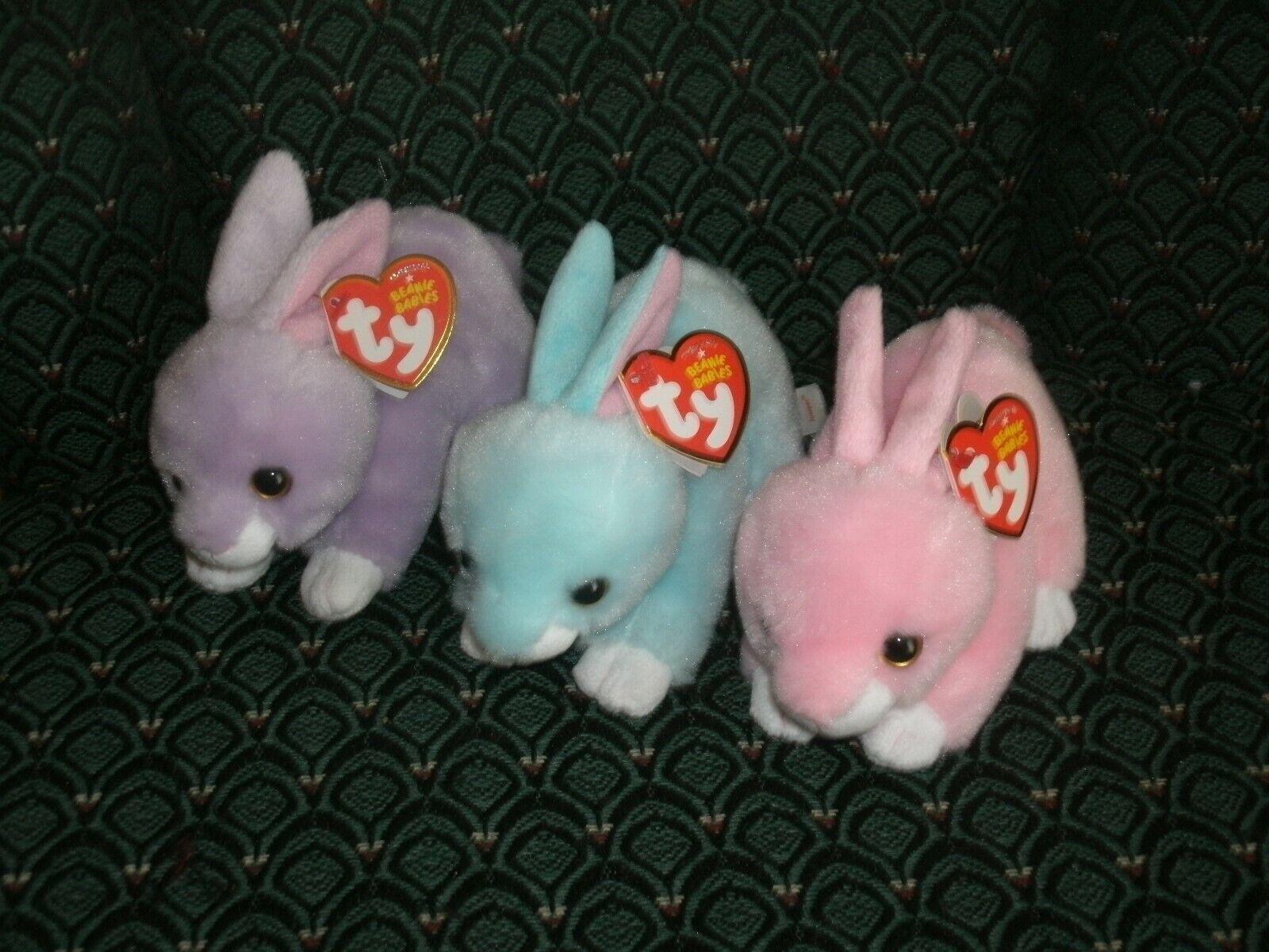 Ty Beanies LOT 3  6  WALKER, DASH, & JUMPER  pink,purple,green rabbits -MWMT