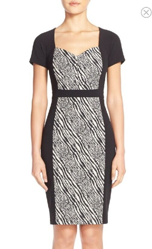 NWT NYDJ Gisselle Zebra Print Sheath Dress Size 16 MSRP