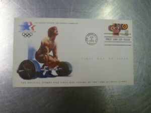 WEIGHTLIFITING-COVER-amp-STAMP-LOS-ANGELES-POSTMARK-1984-OLYMPICS-USA