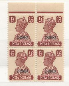 INDIA-CHAMBA-THE-1940-3-GVI-12as-LAKE-IN-A-MNH-MARGINAL-BLOCK-OF-4-CAT-108