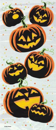 20 X Claro Calabaza de Halloween Botín Bolsas Bolsas de tratar de GRIN bolsa fiesta dulce o travesura