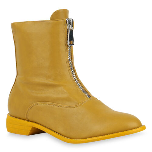 Damen Klassische Stiefeletten Leder-Optik Stiefel Slouch Boots 832084 Trendy Neu