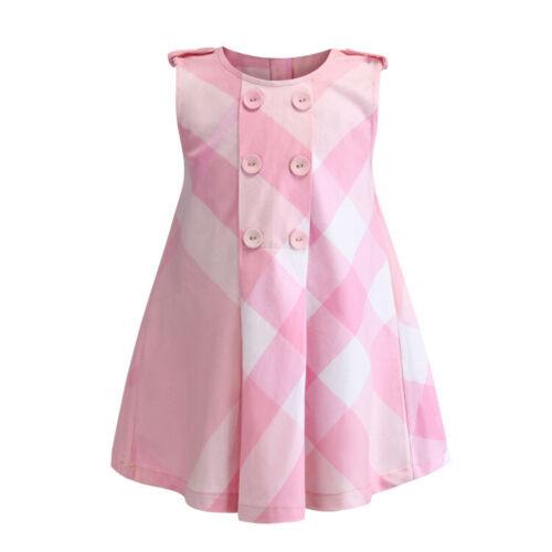 Girls Kids Baby Plaid Dress Sleeveless Cotton Lattice Tutu Vest Summer Dresses