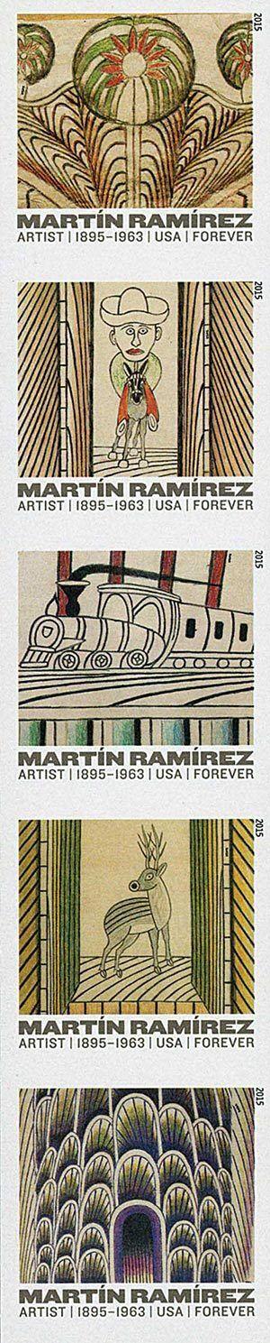 2015 49c Martin Ramirez Self-Taught Artist Strip of 5 S