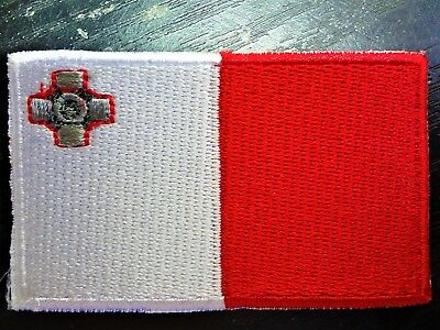 MALTA IRON ON 6.5cm x 4cm EMBROIDERED NATIONAL FLAG MALTESE PATCH BADGE 082