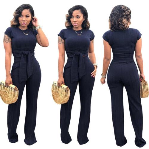 Fashion Spring/&Summer Women Short Sleeve Solid  Rib Bodycon Jumpsuit Casual 2pcs