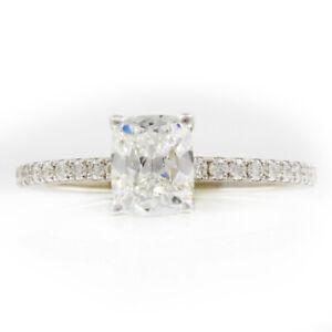 Certifie-GIA-Anneau-Fiancailles-Diamant-1-51-Carat-Coussin-Forme-14K-Or