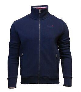 Superdry-Mens-New-Orange-Label-Full-Zip-Track-Top-Sweatshirt-Long-Sleeve-Navy