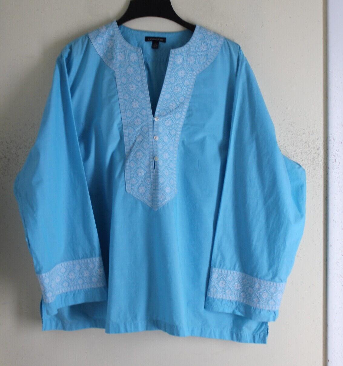 Lands End -Sz 3X Exquisite Crisp Cotton Ethnic Art-to-Wear Embroiderot Tunic Top